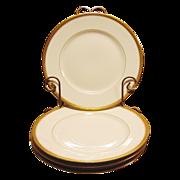 "Four White Gold Encrusted Rimmed Limoges Porcelain 8 ½"" Plates ~ Delinieres / Bernardaud & Co 1900+"