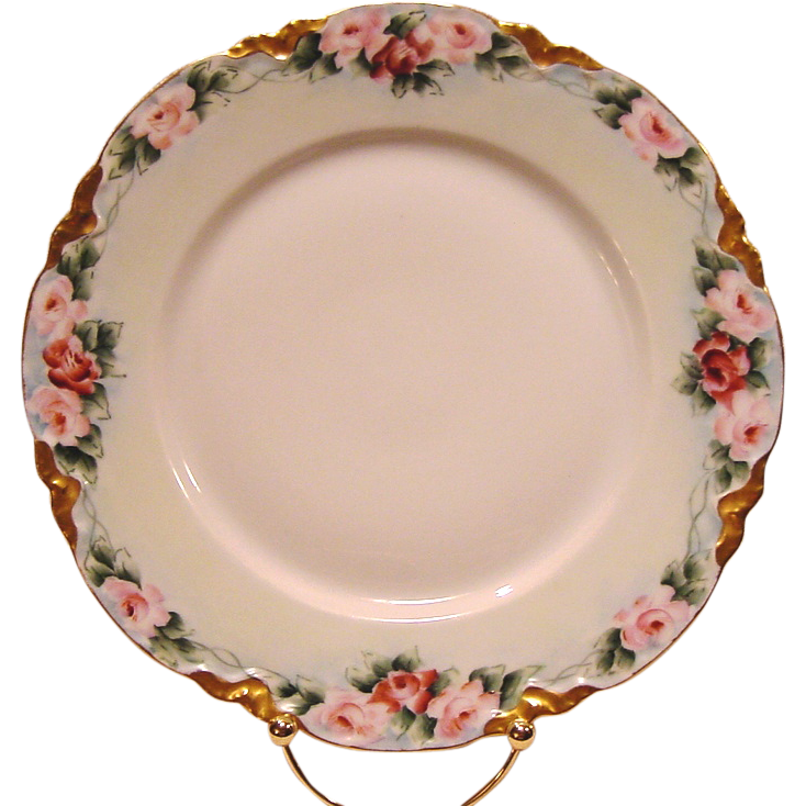 50% OFF!  Gorgeous Porcelain Bavarian Cabinet Plate ~ Hand Painted with Pink & Mauve Roses ~ Racine Pattern ~ Hutschenreuther 1900+