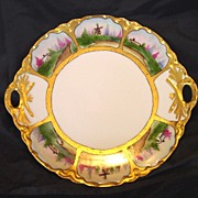 Unusual Limoges Porcelain ~ Two handled Cake Plate ~ Hand Painted with Six Scenic Panels ~ Haviland France ~ 1894-1931