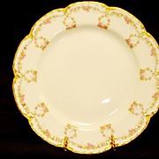 Delicate Limoges Porcelain Cabinet Plate ~ Hand Decorated with Pink rose Garland ~ Haviland France / Haviland & Co 1881