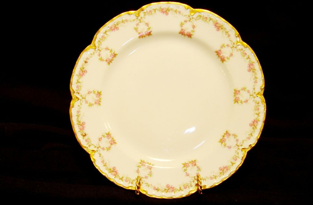 Delicate Limoges Porcelain Cabinet Plate ~ Hand Decorated with Pink rose Garland ~ Haviland France / Haviland & Co 1881