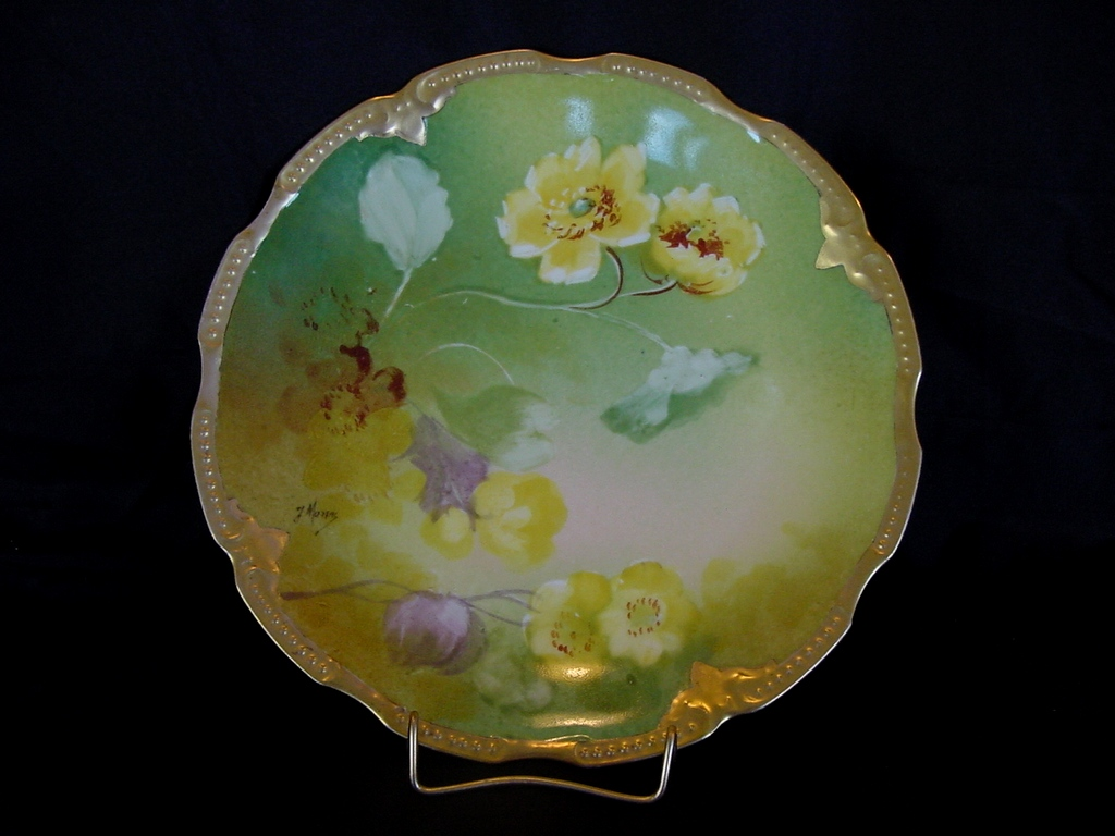 Beautiful Limoges Porcelain Cabinet Plate ~ Hand Painted with Yellow Poppies ~ Artist Signed ~ Latrille Freres / Blakeman & Henderson  ( B&H ) 1899-1913