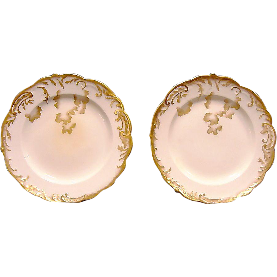 50% OFF!  2 Gorgeous English Porcelain Plates ~ Hand Painted with Gold ~ George Jones & Sons ( GJ )1890-1891