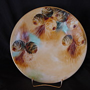 Beautiful Limoges Porcelain Cabinet Plate ~ Hand Painted with Pine Cones ~ Jean Pouyat ~ 1890-1932
