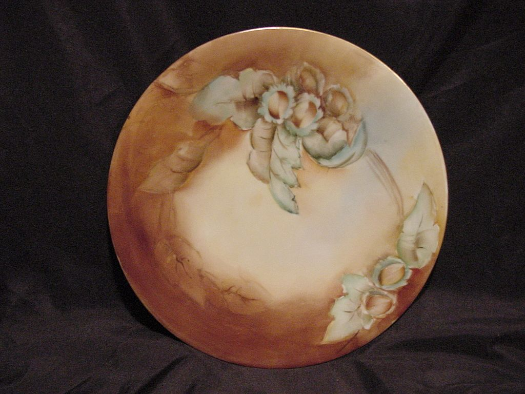 50% OFF! Wonderful Limoges Porcelain Cabinet Plate ~ Hand Painted with Chestnuts ~ Artist Initialed ~ Limoges France 1892+