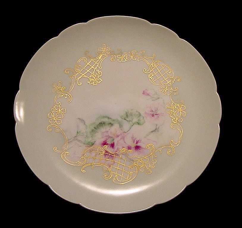 Gorgeous Limoges Porcelain Cabinet Plate ~ Hand Painted with White and Red Violet Nasturtiums ~ Haviland & Co 1888-1896