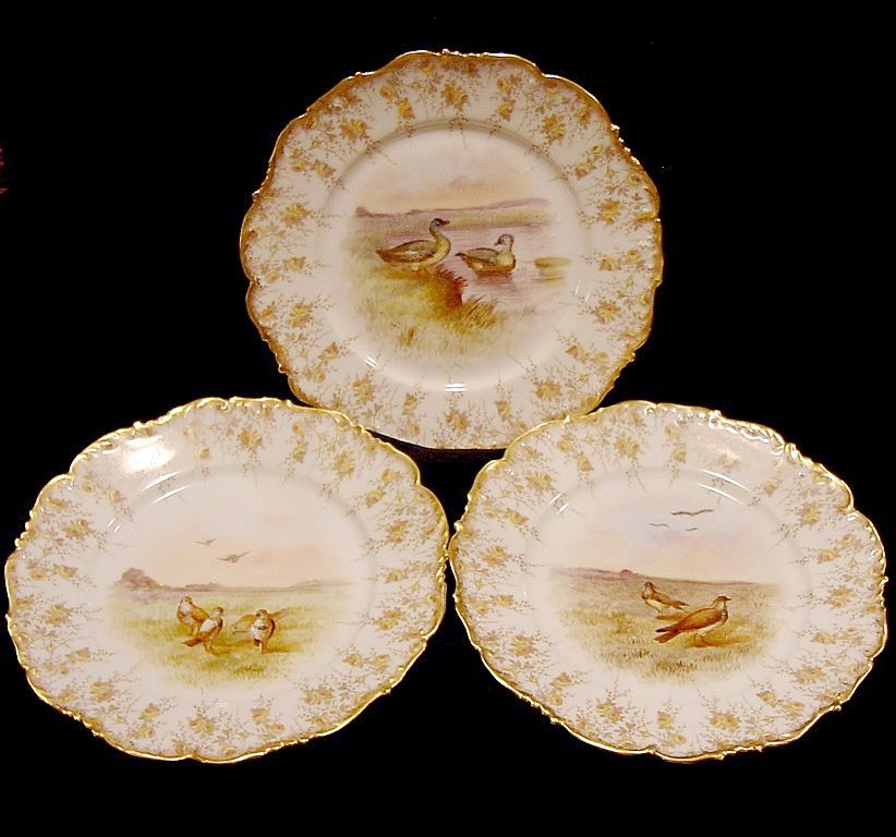 (3) Enamoring Limoges Porcelain Game Plates(Cabinet Plates) ~ Hand Decorated with Shore Birds ~ T & V Tressemann & Vogt 1892-1900