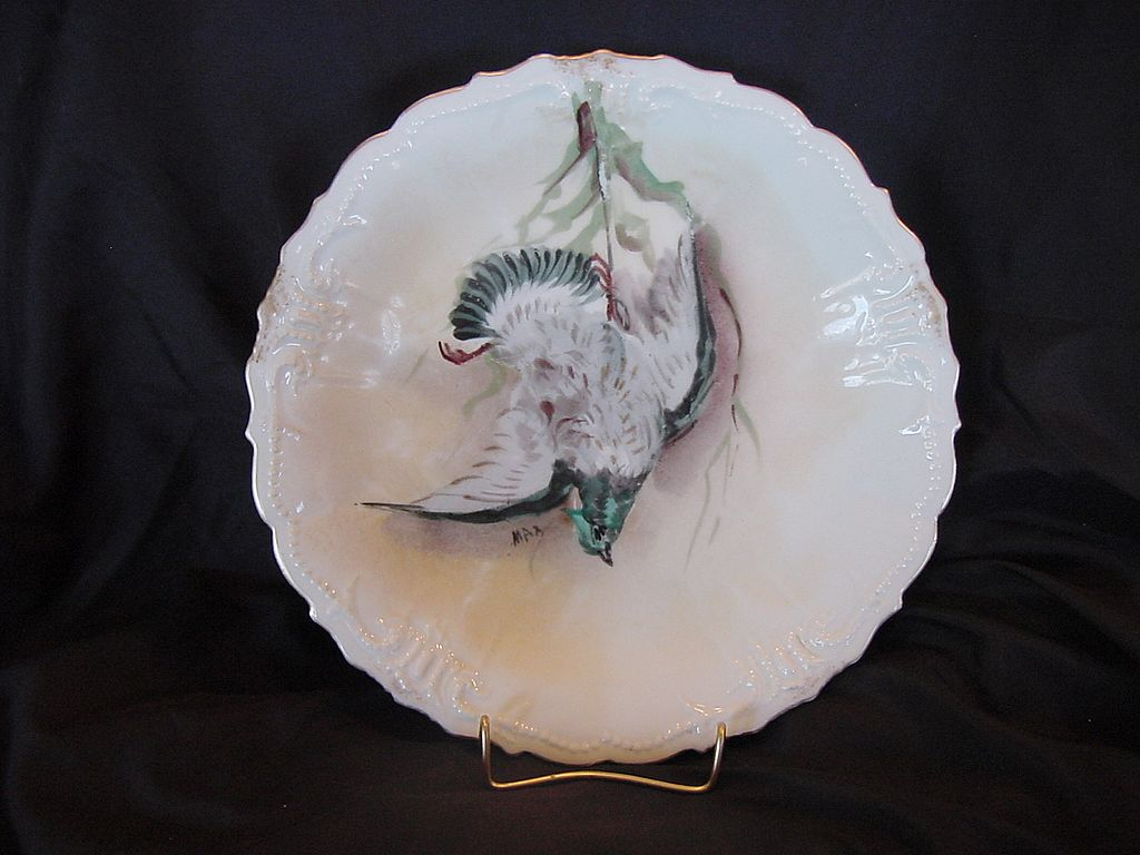 "50% OFF Awesome Limoges Porcelain Game Plate ~ Hand Painted with Blue Green Game Bird ~ Artist ""Max"" Signed ~ Limoges France / Flambeau China 1890's"