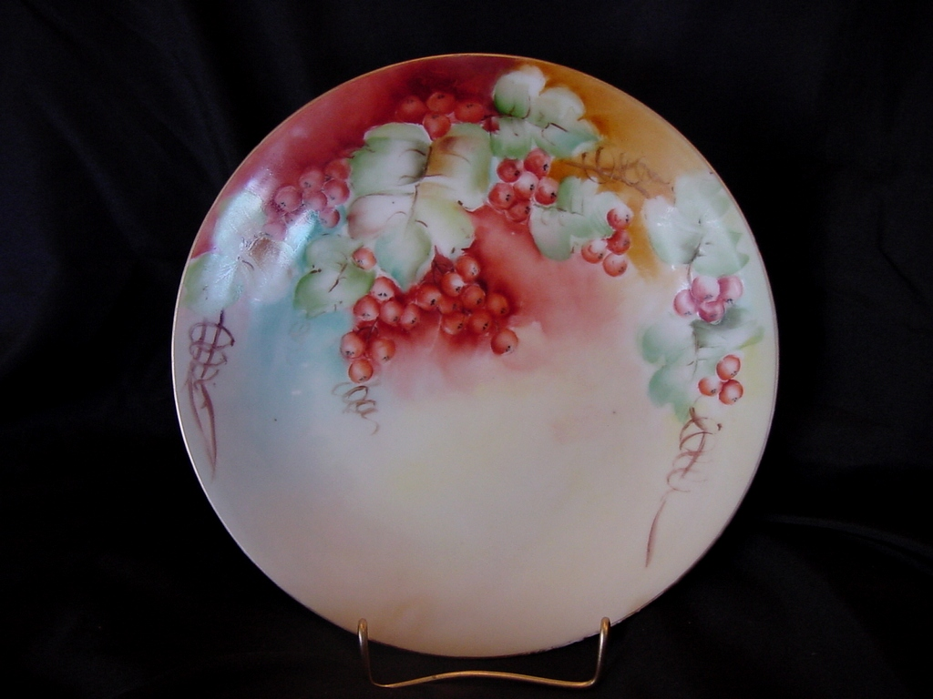 50% OFF!  Limoges Porcelain Cabinet Plate ~ Hand Painted with Vibrant Currants ~ Artist Signed ~ Delinieres & CO France 1890-1900
