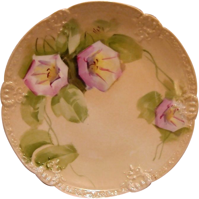 "Eye Appealing Limoges Porcelain Cabinet Plate ~ Hand Painted with Pink and White Morning Glories Signed by Artist ""MAX"" - Limoges France/ Beaux-Arts  After  1891"