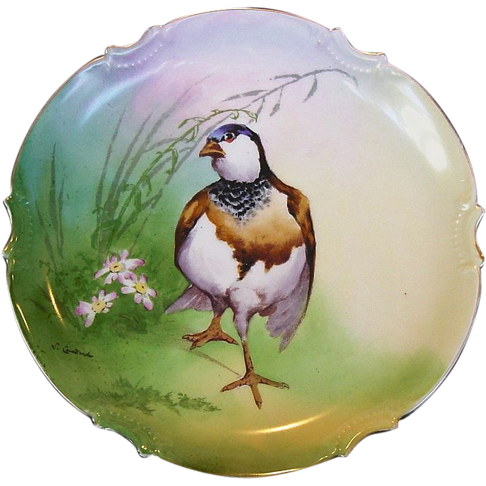 "Eye Appealing Limoges Porcelain Game Plate 10 1/4"" ~ Hand Painted with Flowers and Game Bird ~ Artist L. Courdert Signed ~ Coronet  1906-1920"