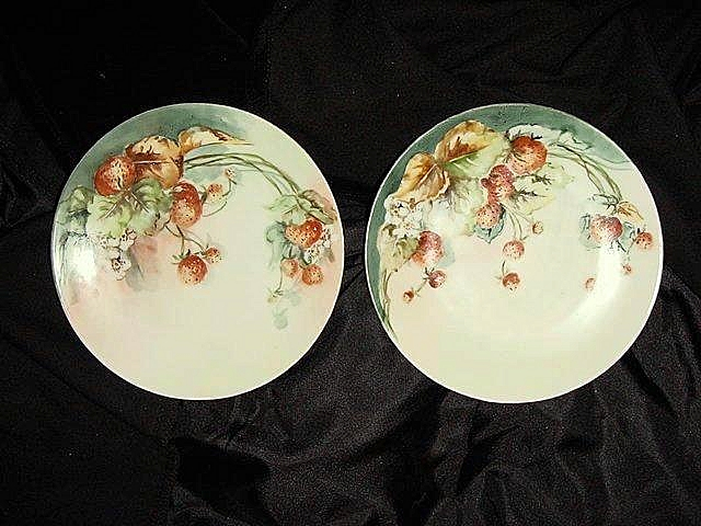 Two Beautiful Porcelain Plates, Hand Painted with Wild Strawberries, Tirschenreuth Porcelain Factory 1927+
