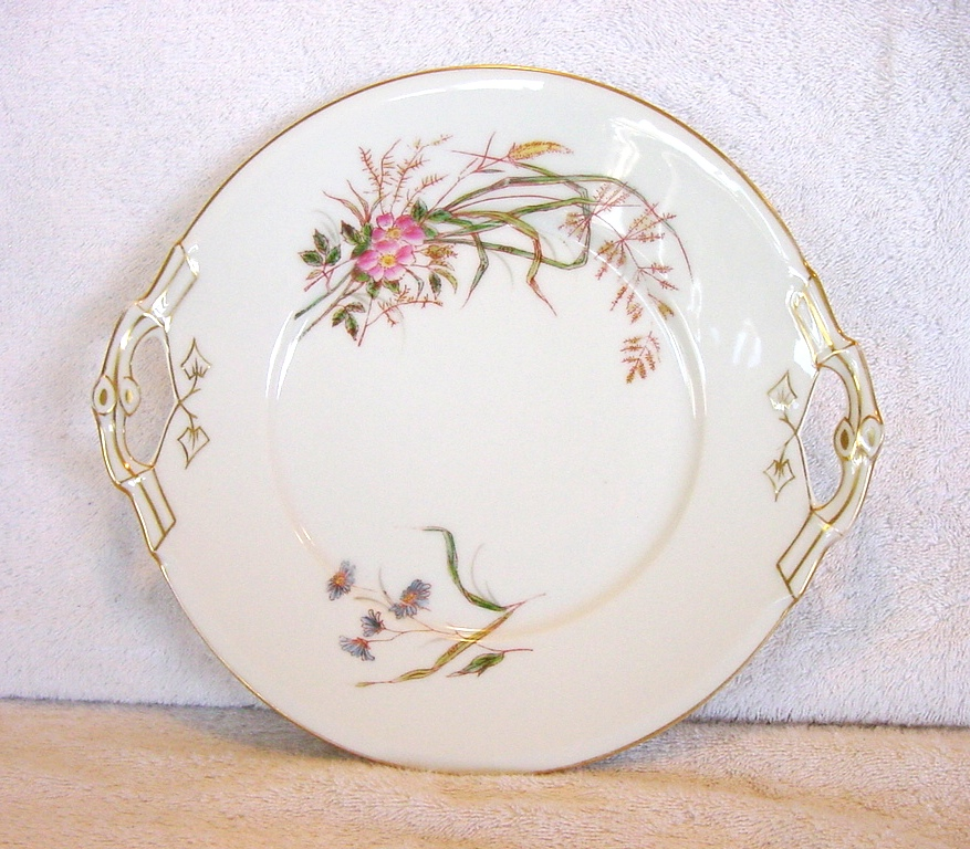 50% OFF! Attractive Limoges Porcelain Double Handled Cake Plate ~ Factory Decorated ~ Hand Painted with Florals and Grasses ~ Delinieres & Co / Tressemann & Vogt (D&C, T&V)  1870's