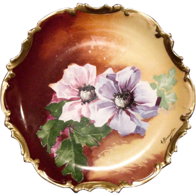 "Exquisite ""A. Bronsillion ""  Limoges Porcelain Wall Plaque / Plate ~ Hand Painted with Pink and Purple Poppies ~ By ~ George Borgfeldt ( Coronet ) 1906-1920"