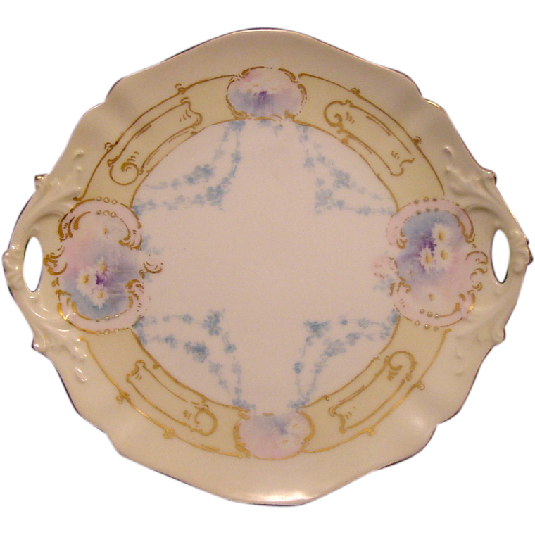 50% OFF!  Exceptional Limoges Porcelain Cake Plate ~ Hand Painted with White Daisies and Blue Flowers ~ Delinieres & Co 1894-1900