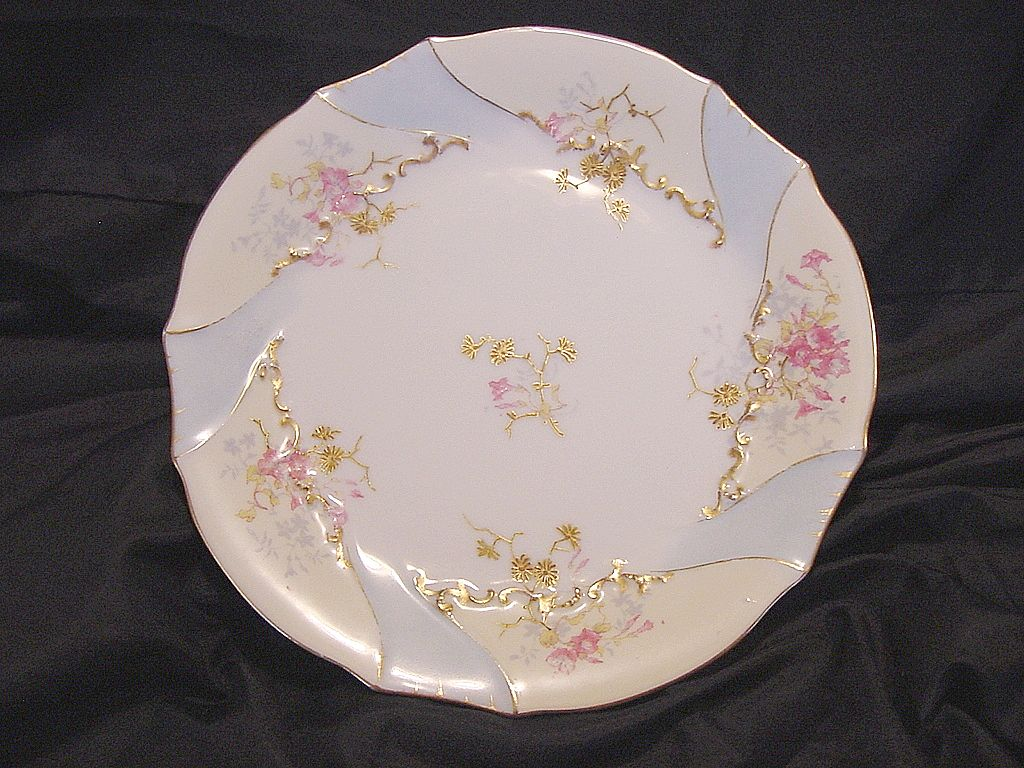 50% OFF Attractive Limoges Porcelain Cabinet Plate Factory Decorated with Gold & Pink Flowers ~ Limoges France/PH Leonard  1892-1914
