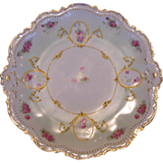 50% OFF FABULOUS Limoges Porcelain Cabinet Plate ~ Factory Decorated with Pink Roses and Gold Beading ~ Limoges France/ Coronet - George Borgfeldt  1906-1920