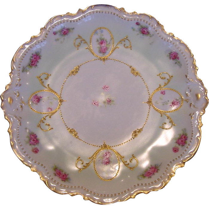FABULOUS Limoges Porcelain Cabinet Plate ~ Factory Decorated with Pink Roses and Gold Beading ~ Limoges France/ Coronet - George Borgfeldt  1906-1920