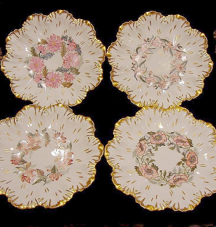 Four Phenomenal Limoges Porcelain Cabinet Plates ~Hand Painted with Different Floral Designs ~ Artist Initialed ~ A. Lanternier ~ 1891-1914