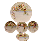 "Extraordinary  5 Piece Set of Bavarian Porcelain ~ 13"" Platter & 4 Matching Plates ~ Hand Painted with Sea / Ocean Life ~ Thomas Bavaria ~ 1908-1940"