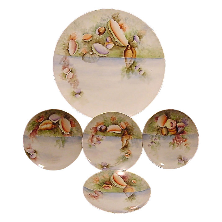 "50% OFF!  Extraordinary  5 Piece Set of Bavarian Porcelain ~ 13"" Platter & 4 Matching Plates ~ Hand Painted with Sea / Ocean Life ~ Thomas Bavaria ~ 1908-1940"