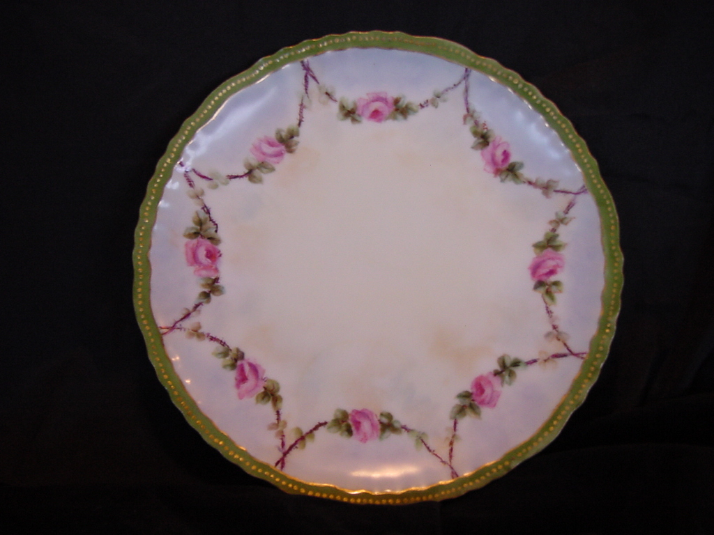 50% OFF Beautiful Limoges Porcelain Cabinet Plate ~ Hand Painted with Swags of Pink Roses ~ Artist Initialed ~ Theodore Haviland 1894-1903