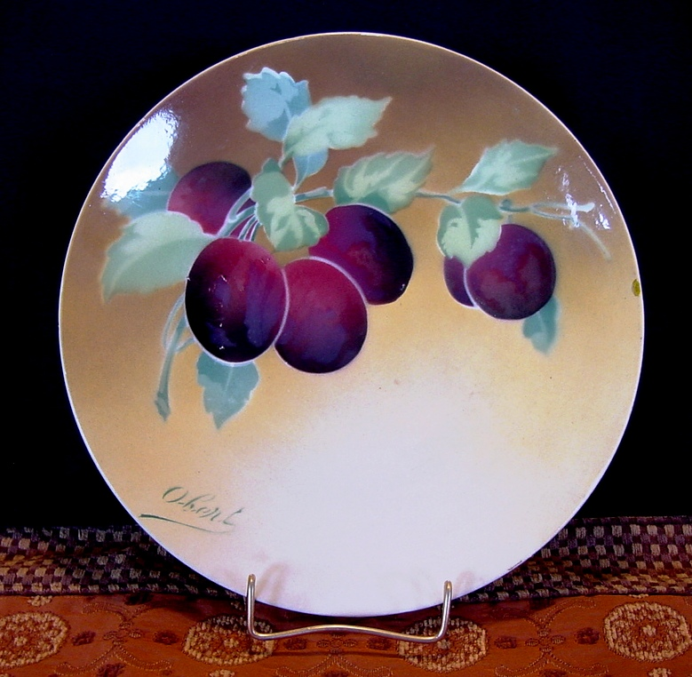 Majolica Cabinet Plaque / Plate with Deep Purple Plums ~ Signed Obert ~ ~  KELLER & GUERIN - ERNEST BUSSIERE (Nancy, France) - ca. 1890s - 1930s