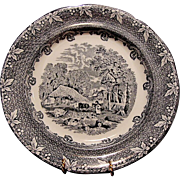"Fabulous Blue Black Transfer Plate ~ ""Farm"" Pattern ~ George Jones & Sons Staffordshire, UK 1874-1924"