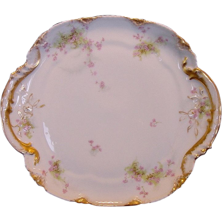 Gorgeous Limoges Porcelain Ice Cream Plate / Cake Plate ~ Hand Decorated with Violet Flowers ~ Theodore Haviland  1895