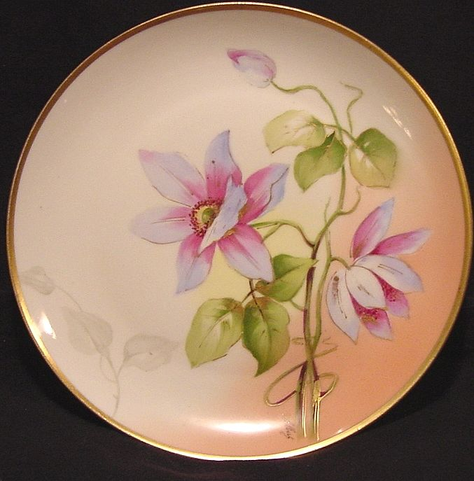 Breathtaking Limoges Porcelain Cabinet Plate ~ Hand Painted with Clematis ~ Artist Signed ~ Latrille Freres / George Borgfeldt (Coronet) 1899-1913