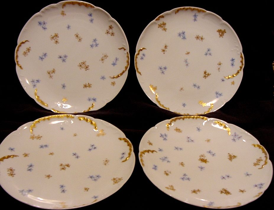 VERY OLD~ Set of 4 ~ Limoges Porcelain Plates ~ Hand Painted with Blue and Gold Flowers ~ Artist Initialed ~ Haviland & Co France 1898