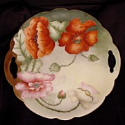Poppy Lovers Delight! Austrian Porcelain Two Handled Cake Plate ~ Hand Painted with Orange & Pink Poppies ~ Artist Signed ~  Crown Vienna Austria 1890-1908 - Red Tag Sale Item
