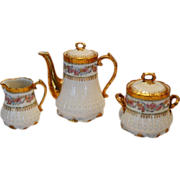 Stunning Limoges Set ~ 2 Cup Coffee / Tea Pot with Sugar & Creamer ~ GERARD, DUFRAISSEIX & ABBOT (GDA) - LIMOGES (France) - ca 1900 - 1941