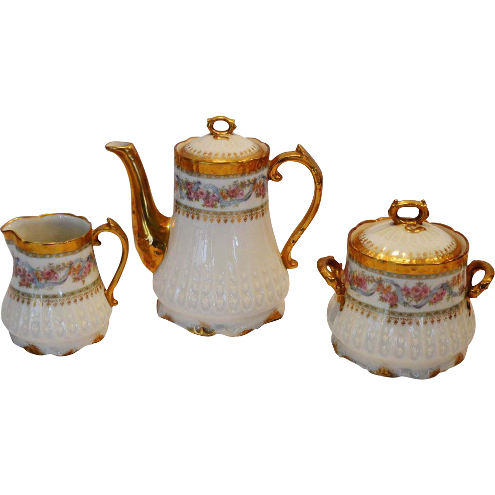 Stunning Limoges Set ~ 2 Cup Coffee / Tea Pot with Sugar & Creamer ~ GERARD, DUFRAISSEIX & ABBOT (GDA) - LIMOGES (France) - ca 1900 - 1941