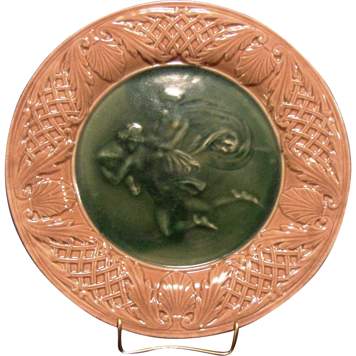 Very Nice Majolica Classical Series Decorated with Mythical Man and Woman ~ Griffen, Smith, Hill ( Etruscan ) Prior to 1879