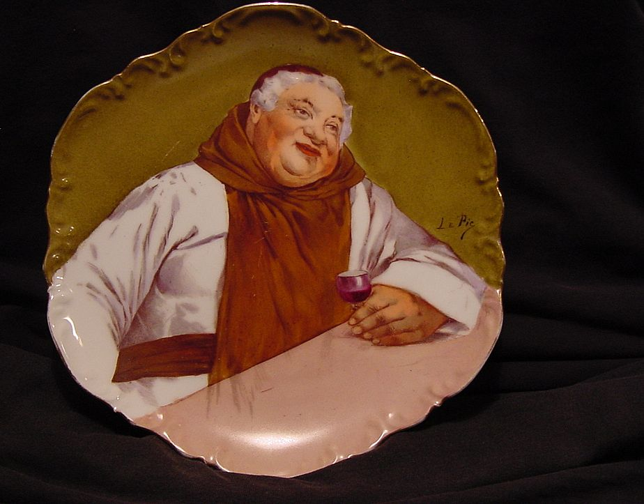 "Nicely Done Limoges Porcelain Wall Plaque / Plate ~ Hand Painted by Renown Artist ""Le Pic"" with a Monk Drinking Wine ~  George Borgfeldt ( Coronet ) 1906-1920"