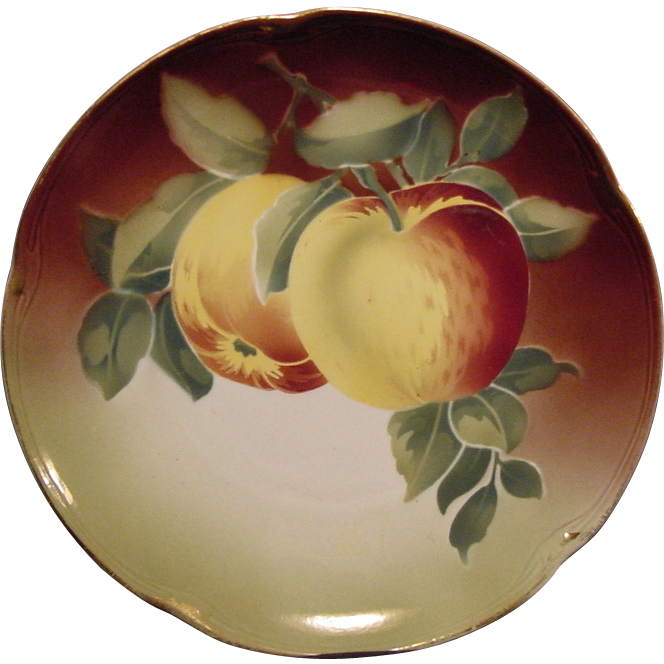 Great Majolica Cabinet Plate with Apples ~KELLER & GUERIN -  ca. 1890s - 1930s