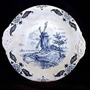"Awesome German Earthenware Cake Plate Decorated with Cobalt Blue Wind Mill Scene ""Royal Bonn Delft"" ~ FRANZ ANTON MEHLEM EARTHENWARE FACTORY (Bonn, Germany)  1887-1920"