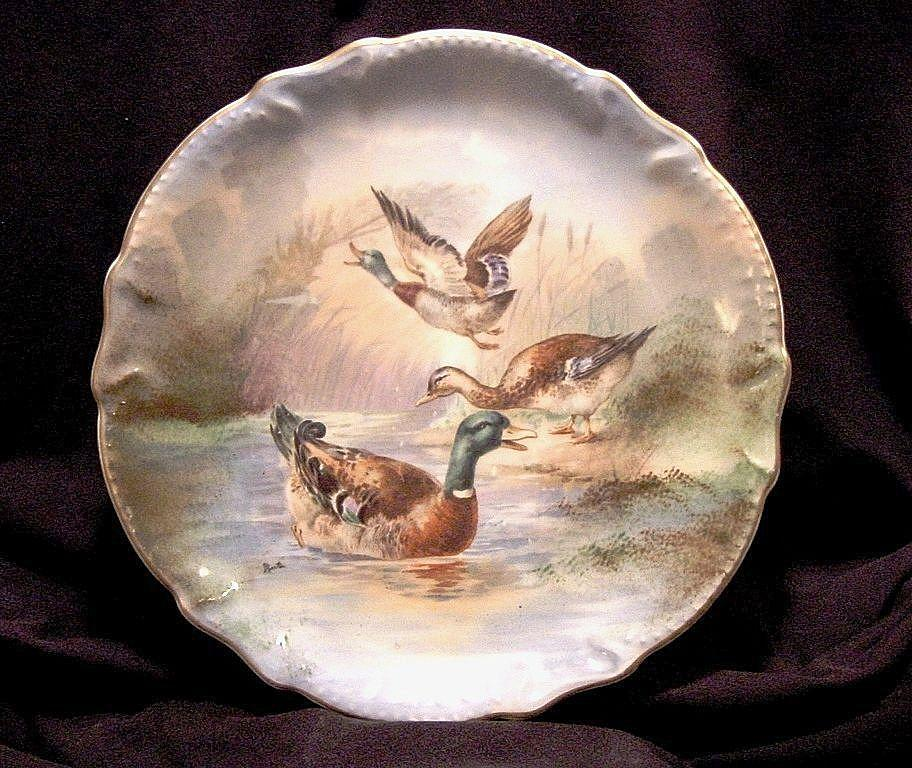 "Handsome Limoges Porcelain 11"" Plate / Charger ~ Hand Painted with Mallard Ducks ~ Artist Signed ~ LEGRAND & CO (Limoges, France) / Lazeyras Rosenfeld & Lehman"