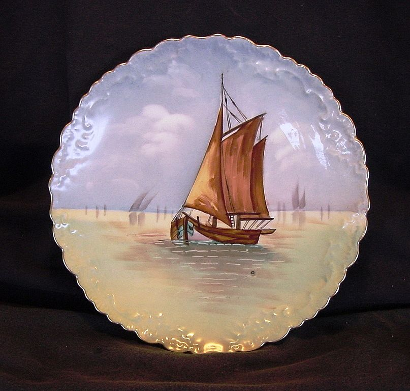Wonderful Limoges Porcelain Cabinet Plate ~  Hand Painted with a Sail Boat on the Water ~ Blakeman & Henderson 1891+