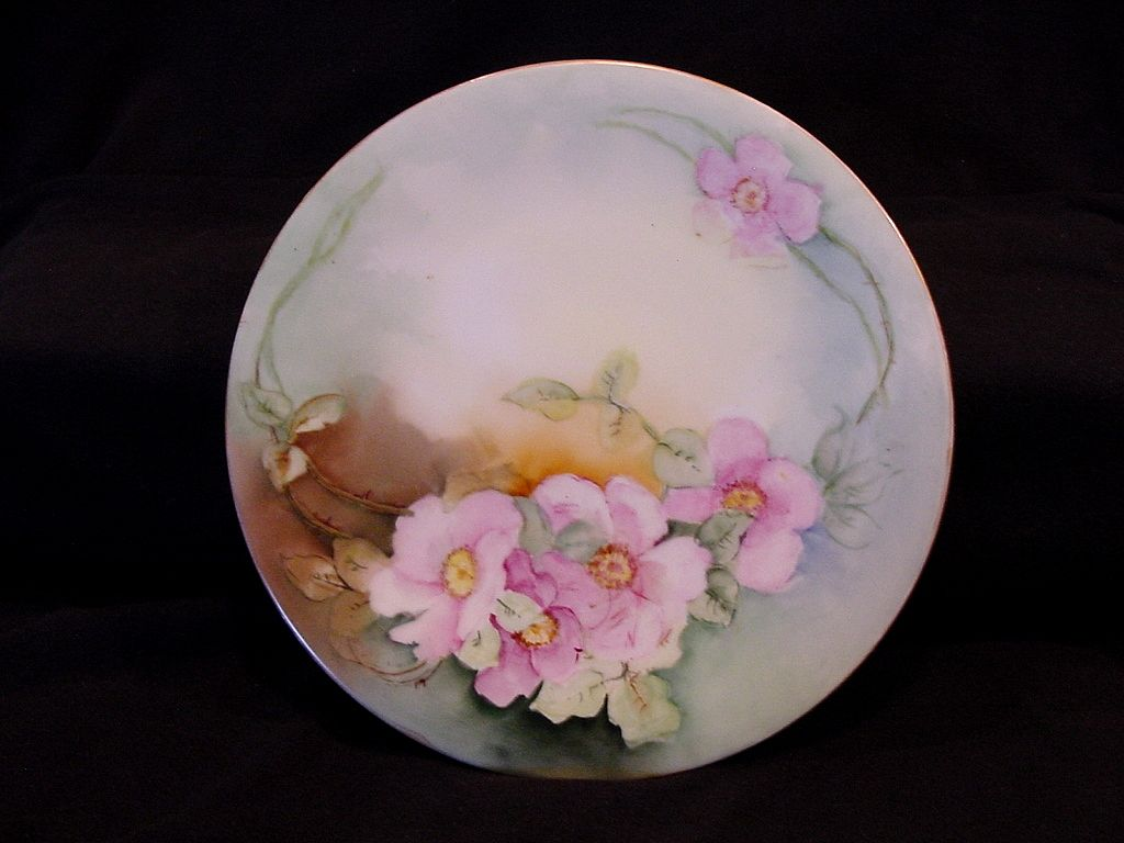 Beautiful Limoges Porcelain Cabinet Plate ~ Hand Painted with Pink Roses ~ Jean Pouyat JPL ~ 1890-1932