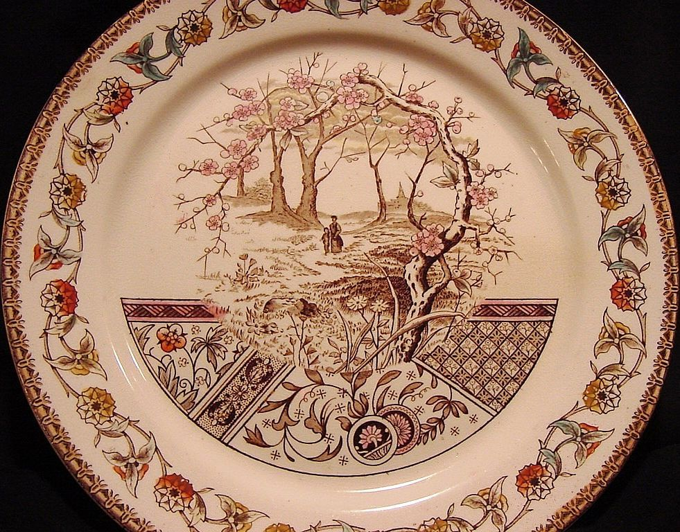 "Awesome English Earthenware Plate with Polychrome Transfer ~ ""Yosemite"" Pattern ~ T R Boote  1/13/1883"