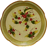 "Wonderful Bavarian Porcelain Cabinet Plate~ Pickard Studio Decorated ~ Hand Painted with Holly by ""Beutlich"" – Jaeger & Co Bavaria 1903-1905"