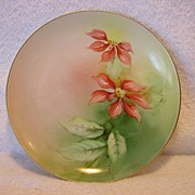 "Awesome Ginori Italian Porcelain Cabinet Plate~ Hand Painted with Red Poinsettias ~Artist ""T Bani"" Signed ~ Richard-Ginori Italy 1890's"