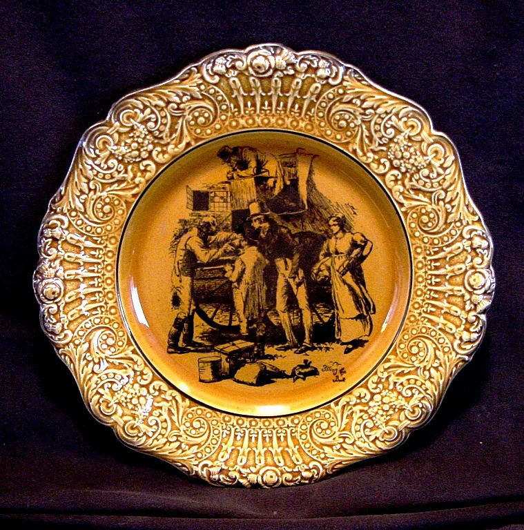 "Attractive English Cabinet Plate ~ Coaching Days with Raised Relief Edge ""Filling the Boot""   - WILLIAM RIDGWAY, SON & Co. (Staffordshire, UK) - ca 1875-1910"