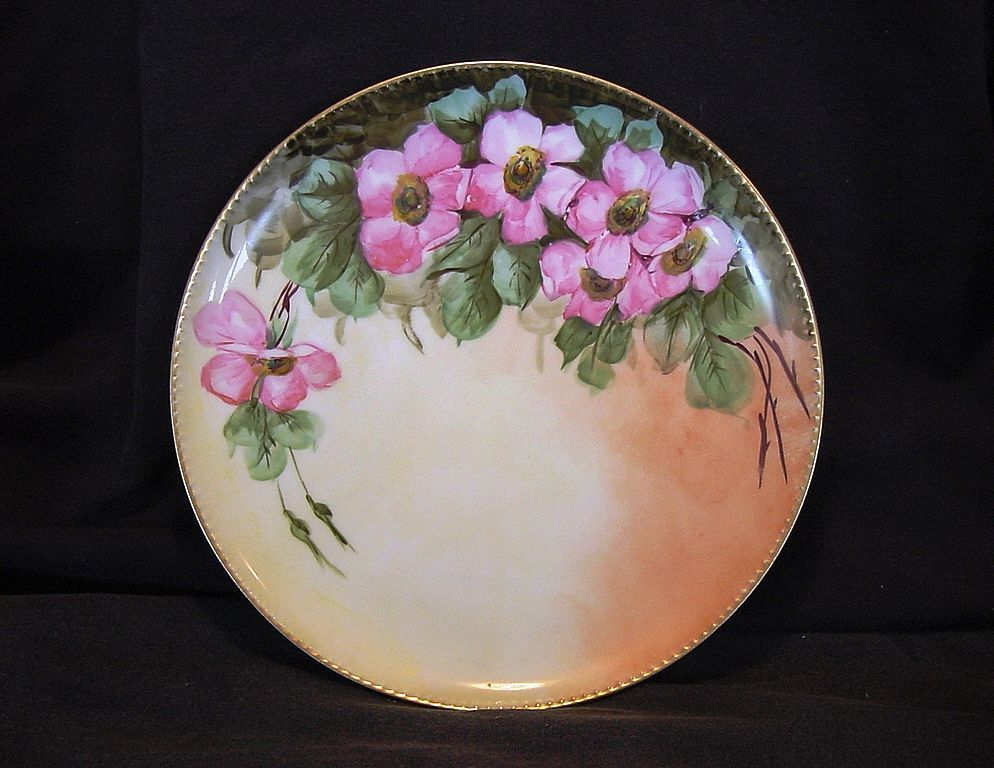 Beautiful Limoges Porcelain Cabinet Plate ~ Hand Painted with Wild Pink Roses ~ Haviland France 1894-1931