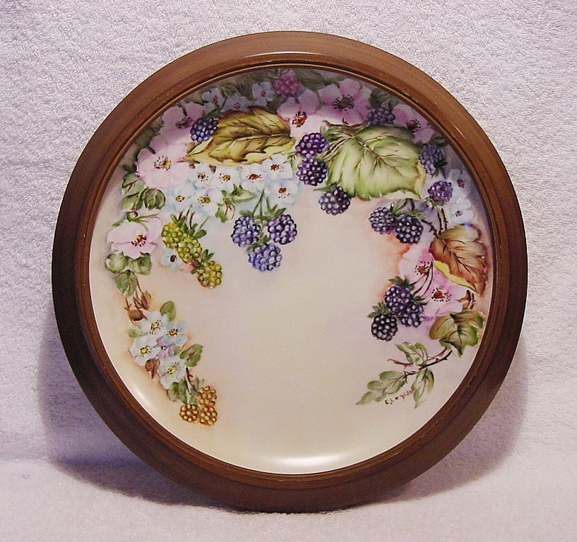 "Exquisite 12"" Porcelain Charger Framed ~ Hand Painted with Blackberries, White Flowers & Wild Pink Roses ~ Artist Signed ~ Unmarked"
