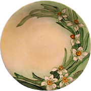 Springtime Limoges Porcelain Cabinet Plate ~ Hand Painted with Daffodils / Narcissus ~ Artist Signed ~ Jean Pouyat JPL 1890-1932
