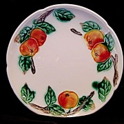 Wonderful German Majolica Cabinet Plate ~ Apples ~ ZELL United Ceramic Factories - GEORG SCHMIDER (Germany) - ca 1907 – 1928