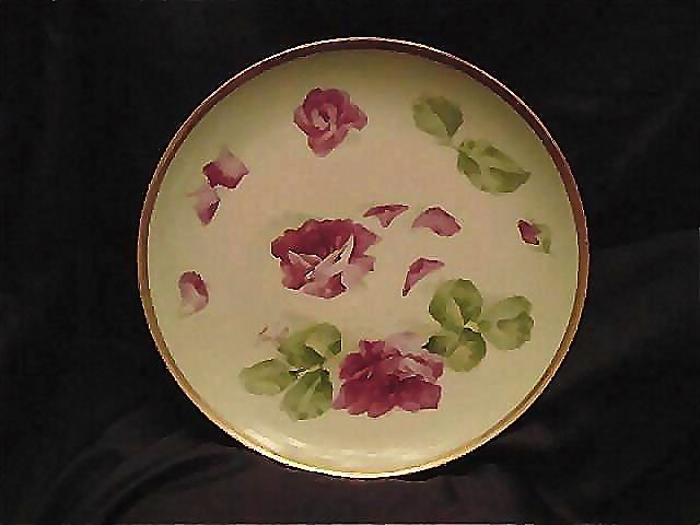 Limoges Plate Hand Painted, Signed  Red Roses – Latrille Freres ca 1908-1913